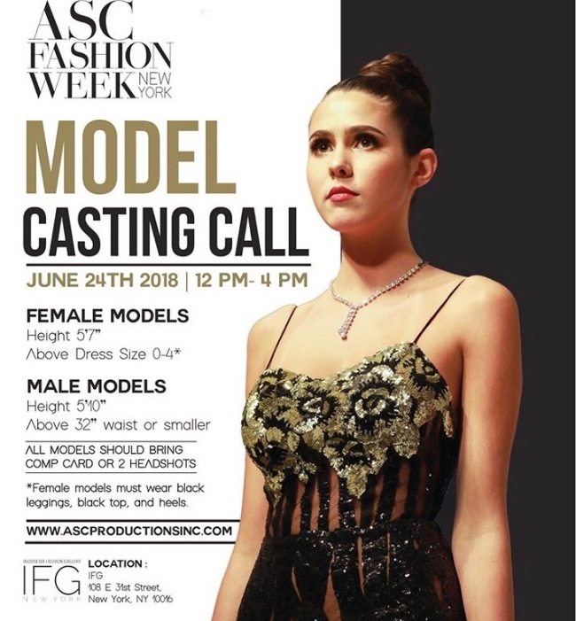 ASC FASHION WEEK MODEL CALL NEW YORK