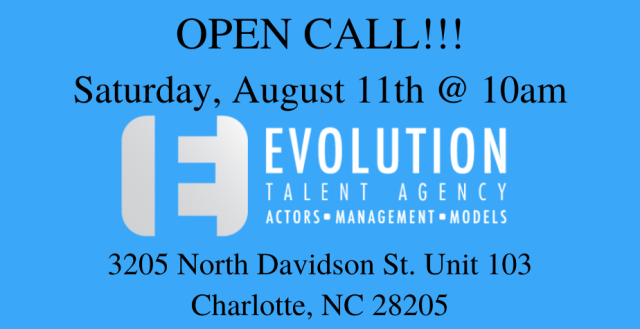 Evolution Talent Agency Charlotte Open Call