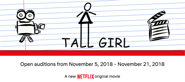 Tall Girl casting call Netflix open auditions