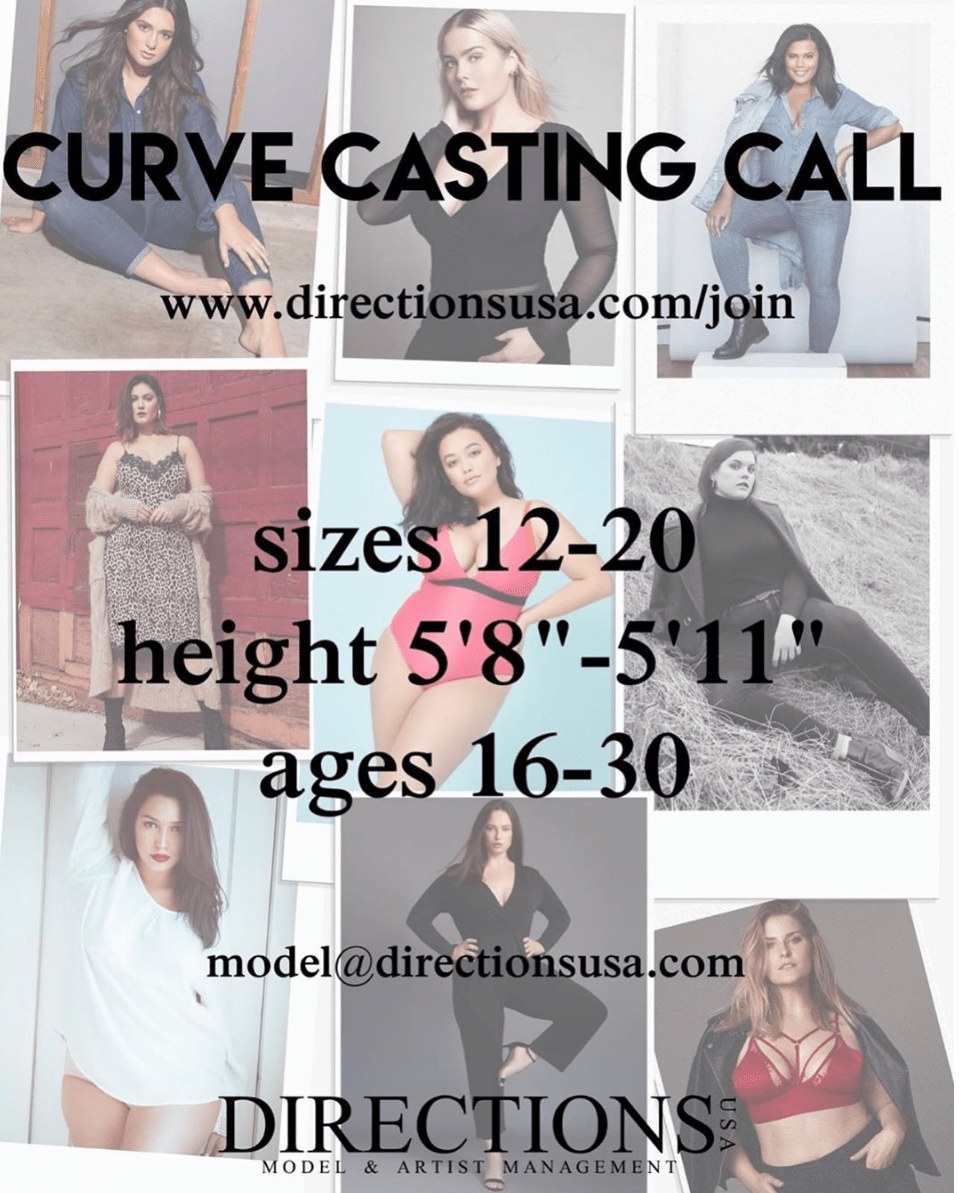 directionsusa curve model casting call